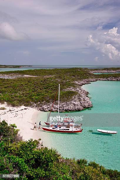 Catamaran on beach at Hawksbill Cay