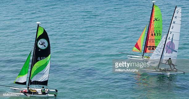 catamaran race at saint malo - catamaran stock photos and pictures