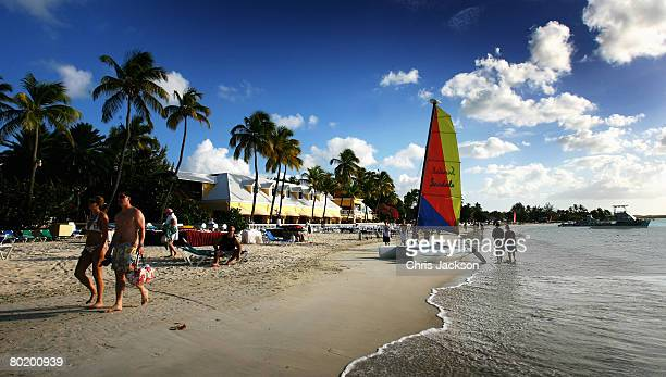 Catamaran with a colourful sail sits on the beach just outside St John's on March 10, 2008 in Dickenson Bay, Antigua.