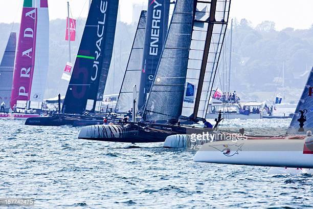 catamaran yacht racing start - catamaran race stock photos and pictures