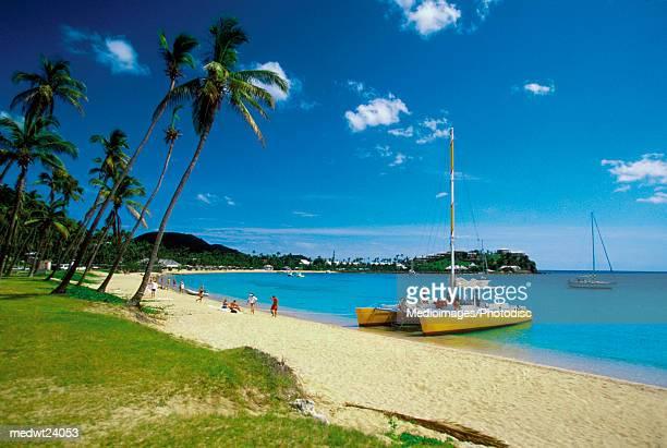 Catamarans and people on Morris Bay Beach, Antigua, Caribbean