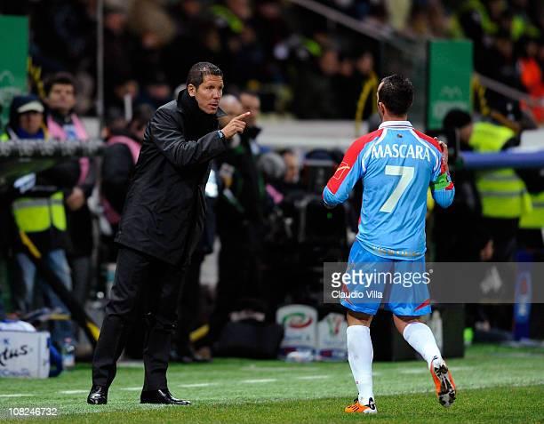 Catania Calcio head coach Diego Pablo Simeone and Giuseppe Mascara during the Serie A match between Parma and Catania at Stadio Ennio Tardini on...