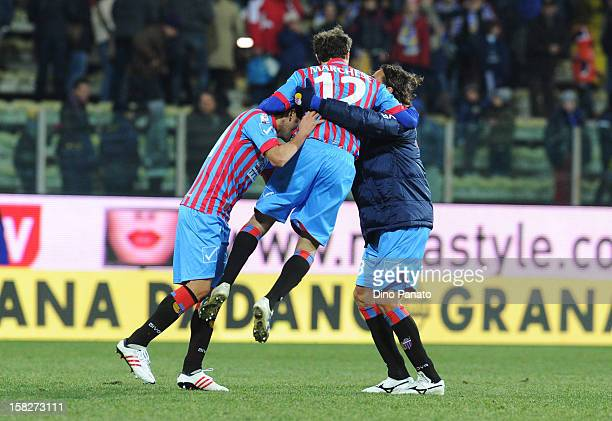 Catania Calcio Players celebrate victory after the TIM Cup match between Parma FC and Catania Calcio at Stadio Ennio Tardini on December 12, 2012 in...