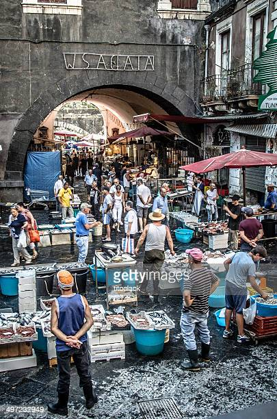catania fish market - catania stock photos and pictures