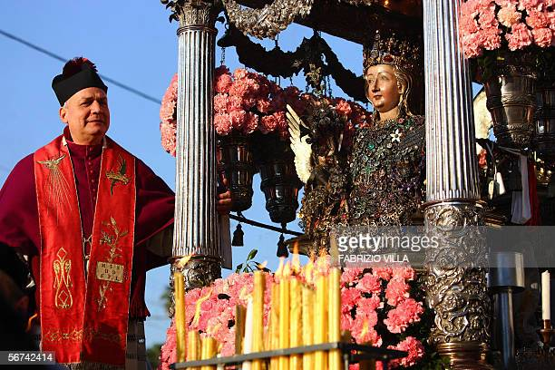 A statue of Santa Agata is carried during the traditional Santa Aga procession in the streets of Catania Sicily 04 February 2006 Santa Agata is still...
