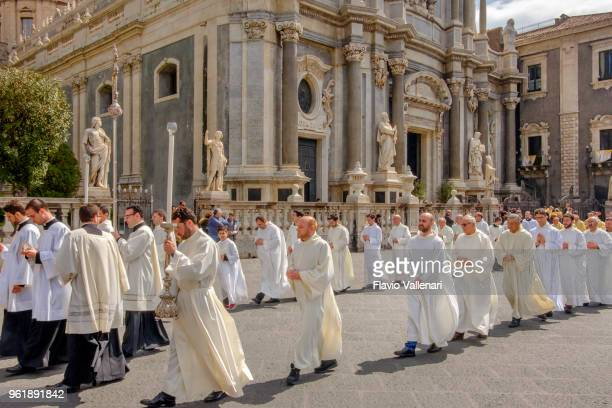 catania, maundy thursday at the saint agatha cathedral - sicily, italy - maundy thursday stock pictures, royalty-free photos & images