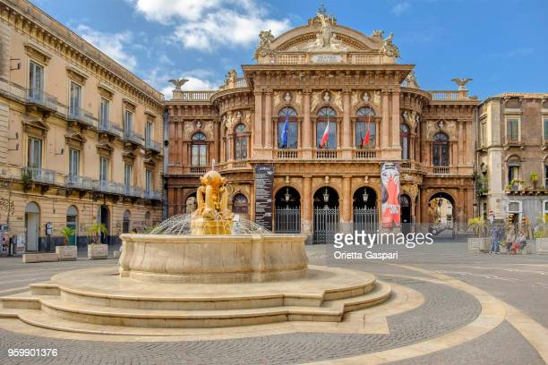 catania, piazza vincenzo bellini and theatre - sicily, italy - catania stock photos and pictures