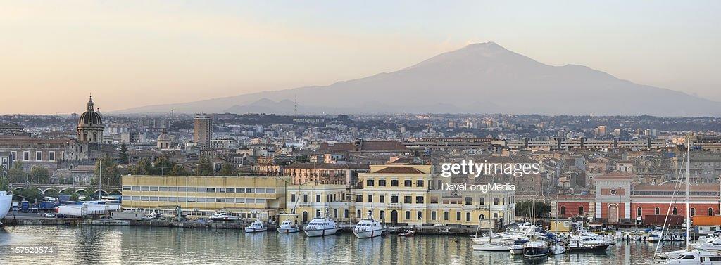 Catania Sicily and Mount Etna Panorama (XXXL) : Stock Photo