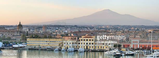catania sicily and mount etna panorama (xxxl) - mt etna stock pictures, royalty-free photos & images