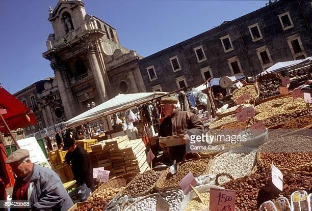 Catania Sicily Italy Street market in one of the seats of Catania