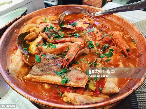 cataplana - traditional portuguese dish with various fish and seafood - portuguese culture stock pictures, royalty-free photos & images