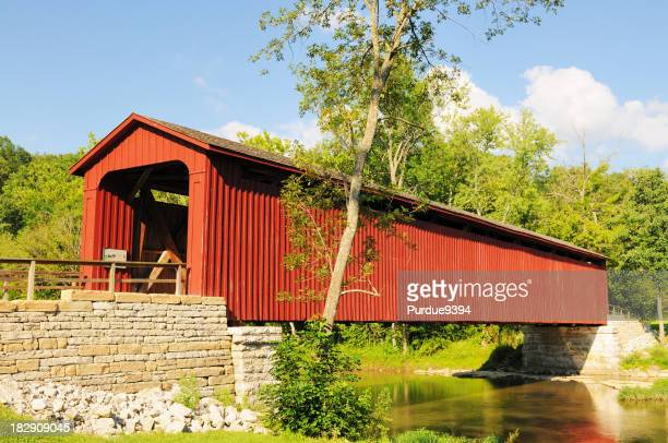 Cataract Falls State Park Indiana Historic Red Covered Bridge