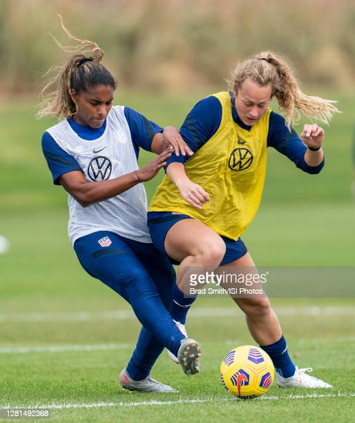 Catarina Macario and Jaelin Howell of the USWNT fight for the ball during a training session at Dick's Sporting Goods Park training fields on October...