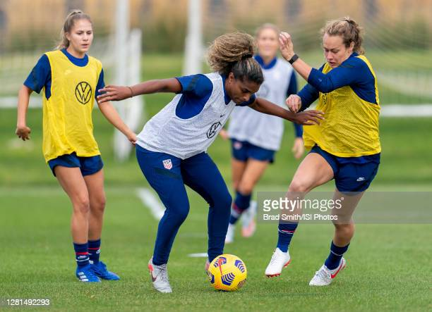 Catarina Macario and Jaelin Howell of the USWNT fights for the ball during a training session at Dick's Sporting Goods Park training fields on...