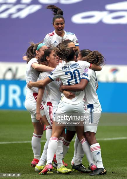 Catarina Macario of Lyon celebrates her team's first goal with teammates during the Second Leg of the UEFA Women's Champions League Quarter Final...