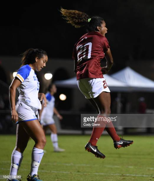 Catarina Macario of Stanford University celebrates scoring her sides first goal against UCLA at Laird Q Cagan Stadium on September 27 2018 in...