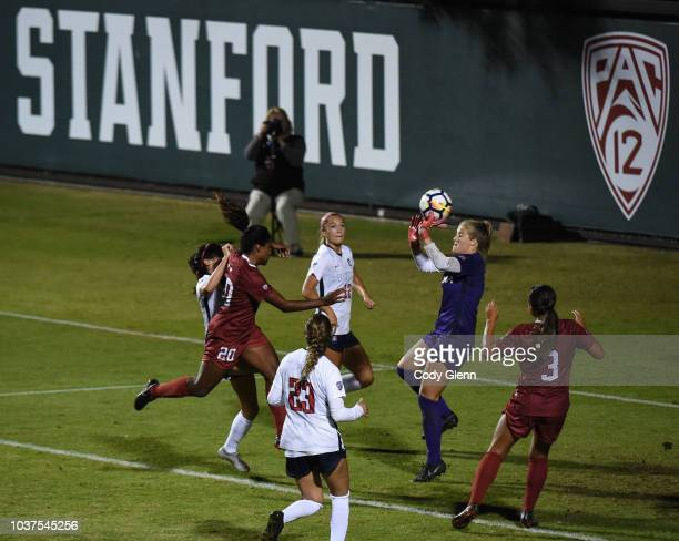 Catarina Macario of Stanford University heads in her sides first goal past University of Arizona goalkeeper Lainey Burdett at Laird Q Cagan Stadium...