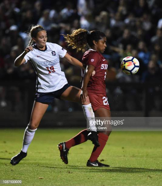Catarina Macario of Stanford University in action against Hallie Pearson of University of Arizona at Laird Q Cagan Stadium on September 21 2018 in...