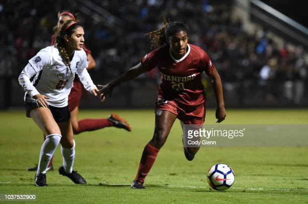 Catarina Macario of Stanford University in action against Samantha Falasco of University of Arizona at Laird Q Cagan Stadium on September 21 2018 in...