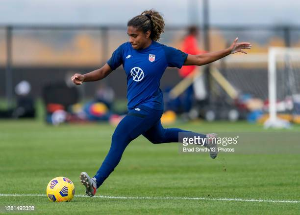 Catarina Macario of the USWNT takes a shot during a training session at Dick's Sporting Goods Park training fields on October 20 2020 in Commerce...