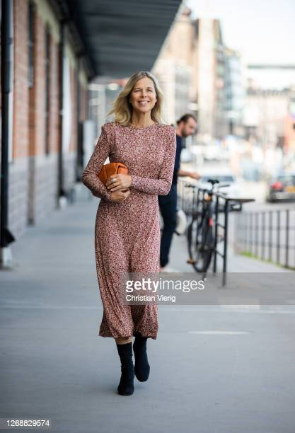 Catarina Midby is seen wearing dress on day 2 during Stockholm Fashion Week Digital Edition 2020 on August 26, 2020 in Stockholm, Sweden.