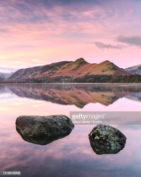 catbells from isthmus bay on derwent water, keswick - ward stock pictures, royalty-free photos & images