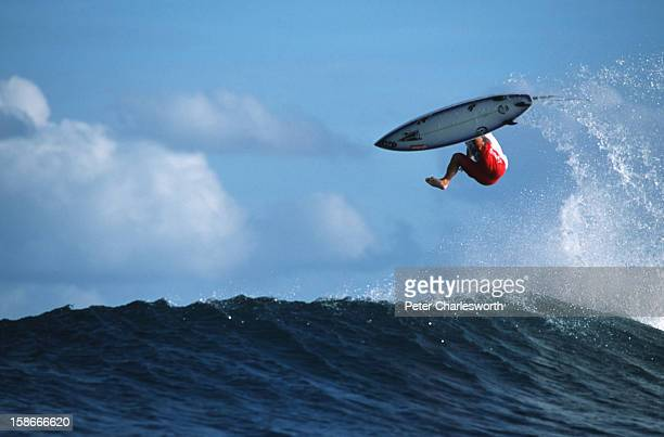 Catch a wave and you're flying on top of the world A surfer pulls off a stunt while on a boatcharter surf holiday in one of the world's most recently...