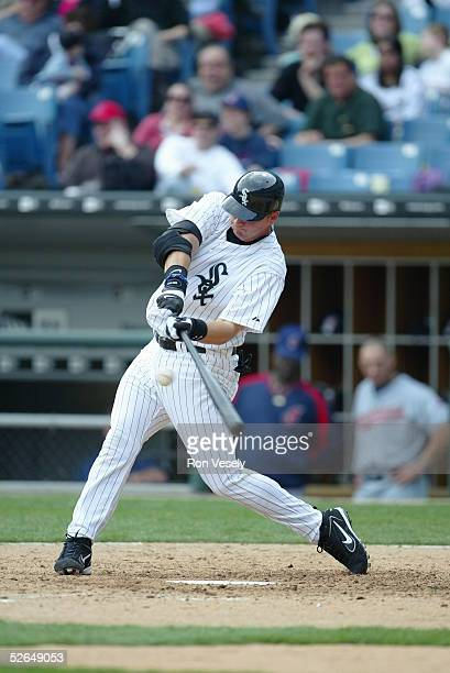 Catcher A. J. Pierzynski of the Chicago White Sox at bat during the game against the Cleveland Indians at U.S. Cellular Field on April 6, 2005 in...