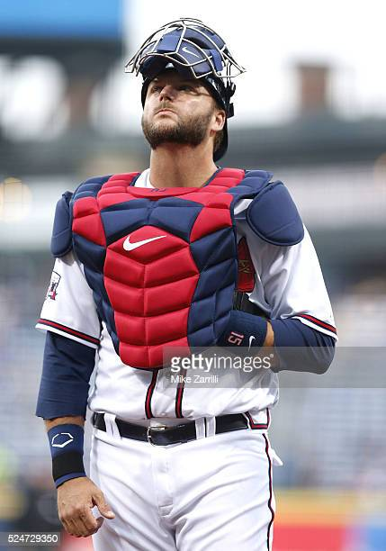 Catcher AJ Pierzynski of the Atlanta Braves gets set in the first inning of the game against the Washington Nationals at Turner Field on April 6 2016...