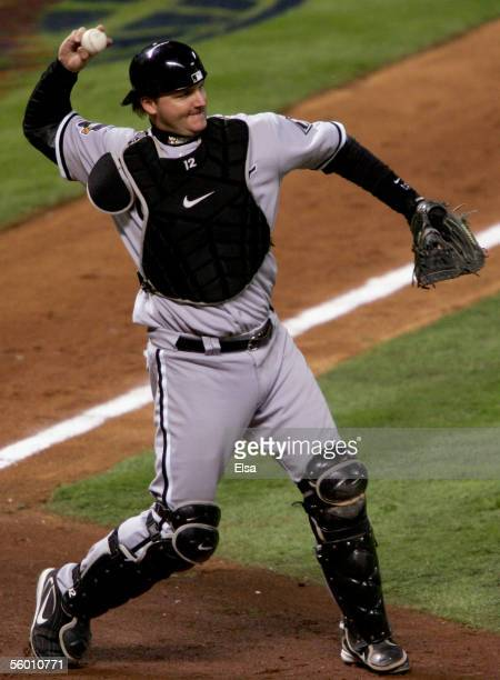 Catcher AJ Pierzynski of the Chicago White Sox throws out batter Adam Everett of the Houston Astros in the seventh inning during Game Three of the...