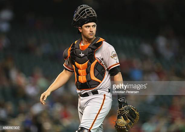Catcher Andrew Susac of the San Francisco Giants during the MLB game against the Arizona Diamondbacks at Chase Field on September 17 2014 in Phoenix...