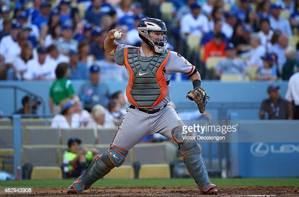 Catcher Andrew Susac of the San Francisco Giants throws to second base in the fourth inning during the MLB game against the Los Angeles Dodgers at...