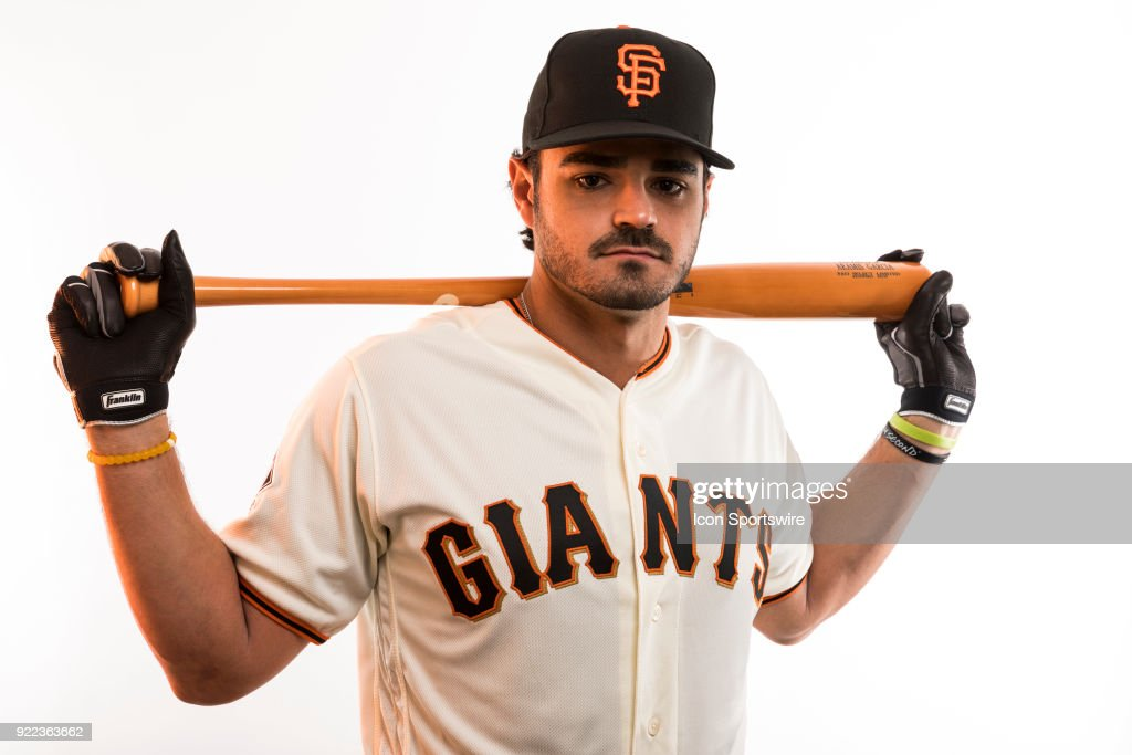 Catcher Aramis Garcia (74) poses for a photo during the San Francisco Giants photo day on Tuesday, Feb. 20, 2018 at Scottsdale Stadium in Scottsdale, Ariz.