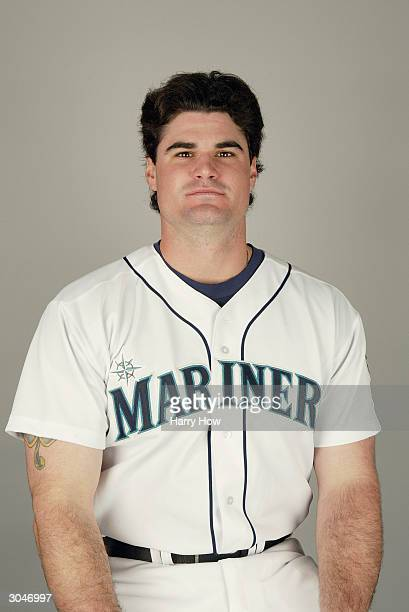Catcher Ben Davis of the Seattle Mariners poses for a portrait during the 2004 MLB Spring Training Photo Day at Peoria Stadium on February 27 2004 in...