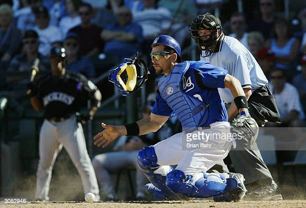 Catcher Benito Santiago of the Kansas City Royals jumps to stop a pitch in the dirt during a game against the Colorado Rockies on March 7 2004 at...