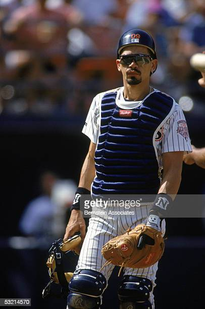 Catcher Benito Santiago of the San Diego Padres looks on the field during a May 211992 season game Benito Santiago played for the San Diego Padres...