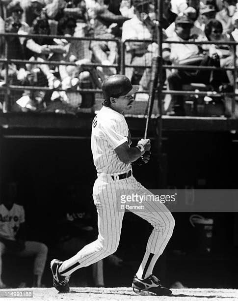 Catcher Benito Santiago of the San Diego Padres swings at a pitch during an MLB game against the Houston Astros circa 1987 at Jack Murphy Stadium in...