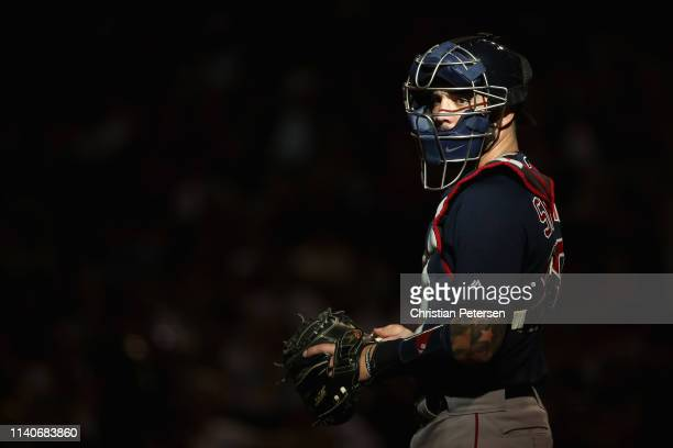 Catcher Blake Swihart of the Boston Red Sox awaits a batter during the second inning of the MLB game against the Arizona Diamondbacks at Chase Field...