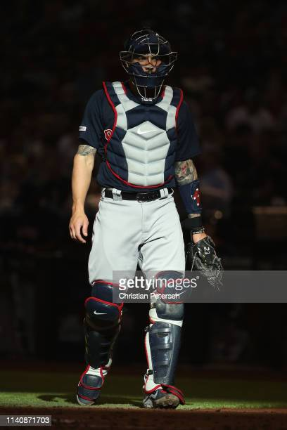 Catcher Blake Swihart of the Boston Red Sox during the MLB game against the Arizona Diamondbacks at Chase Field on April 05 2019 in Phoenix Arizona