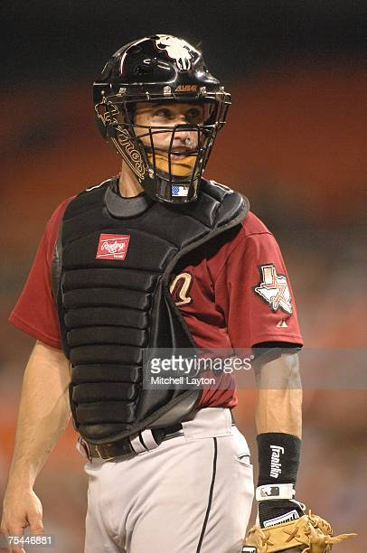 Catcher Brad Ausmus of the Houston Astros during a baseball game against the Washington Nationals on July 16 2007 at RFK Stadium in Washington DC The...