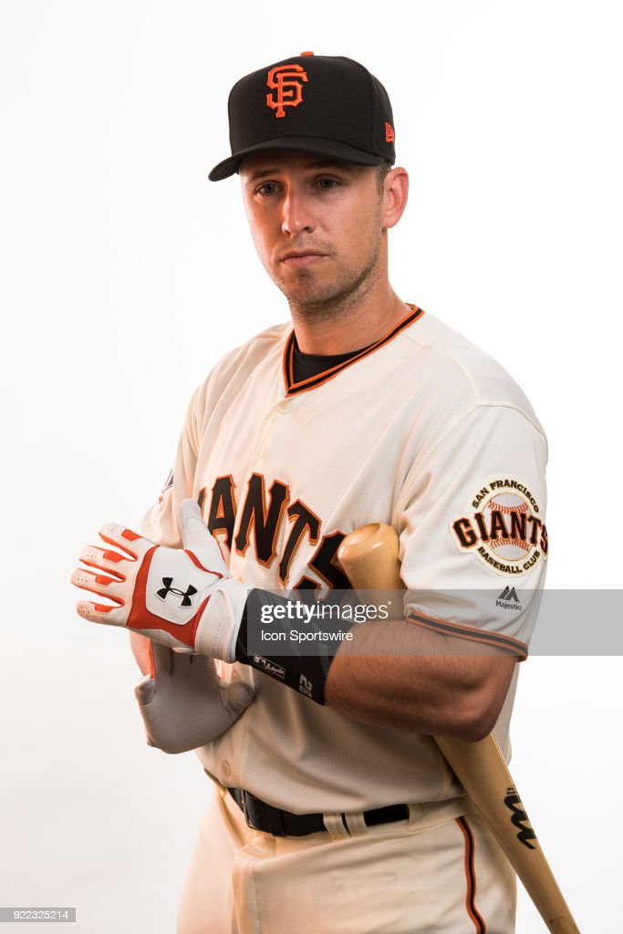 Catcher Buster Posey (28) poses for a photo during the San Francisco Giants photo day on Tuesday, Feb. 20, 2018 at Scottsdale Stadium in Scottsdale, Ariz.