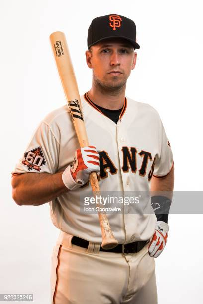 Catcher Buster Posey poses for a photo during the San Francisco Giants photo day on Tuesday Feb 20 2018 at Scottsdale Stadium in Scottsdale Ariz