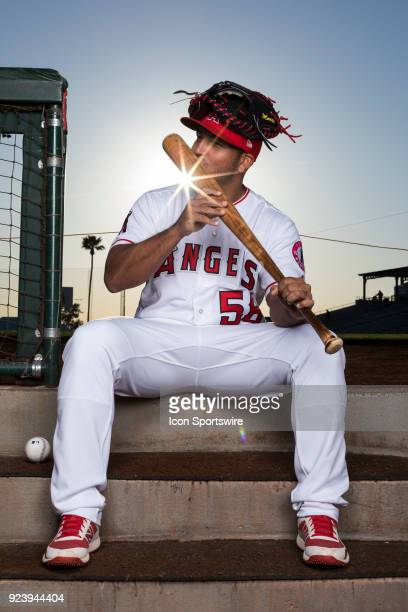 Catcher Carlos Perez poses for a portrait during the Los Angeles Angels Photo Day on Feb 22 2018 at Tempe Diablo Stadium in Tempe Ariz