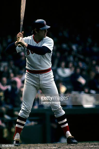 Catcher Carlton Fisk of the Boston Red Sox standsa ready at bat during a May, 1974 season game against the Detrioit Tigers at Tiger Stadium in...