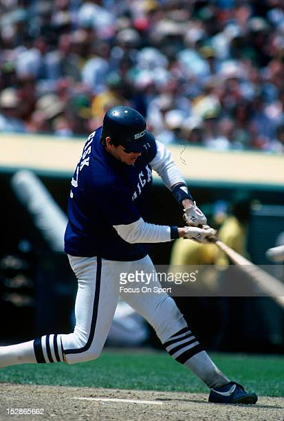 Catcher Carlton Fisk of the Chicago White Sox bats against the Oakland Athletics during a MLB baseball game circa 1981 at the OaklandAlameda County...