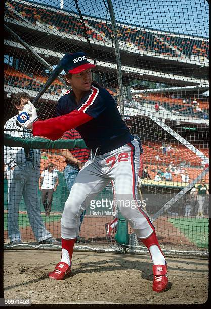 Catcher Carlton Fisk of the Chicago White Sox batting in 1983