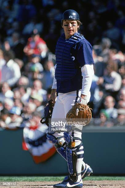 Catcher Carlton Fisk of the Chicago White Sox glances towards the dugout during a 1981 season game