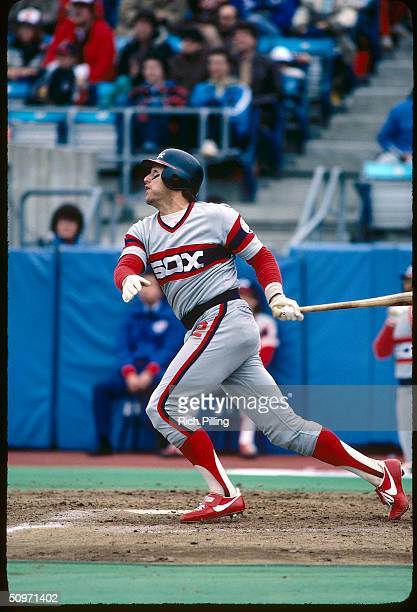 Catcher Carlton Fisk of the Chicago White Sox swings at a pitch in 1983