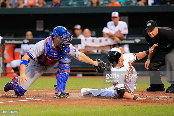Catcher Chris Gimenez of the Texas Rangers tags out Steve Pearce of the Baltimore Orioles trying to score during the first inning at Oriole Park at...
