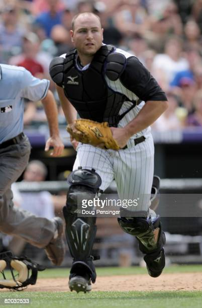 Catcher Chris Iannetta of the Colorado Rockies plays defense against the Pittsburgh Pirates at Coors Field on July 20 2008 in Denver Colorado The...